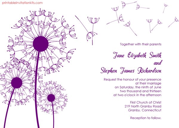 Free printable wedding wedding invitation with dandelions design.