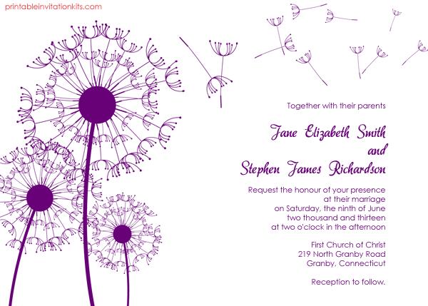 Free Download Wedding Invitation Template: Dandelions Country Wedding Invitation Template ← Wedding