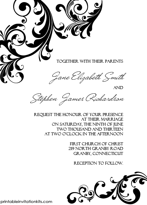 Elegant Wedding Invitation with Swirls Borders ← Printable ...