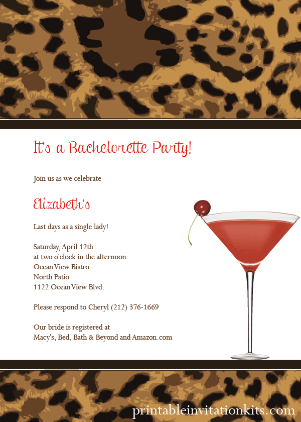 Free leopard print cocktail party invitation