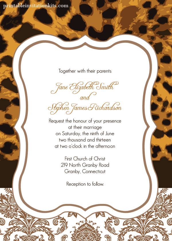 leopard print wedding invitation wedding invitation With leopard print invitations templates