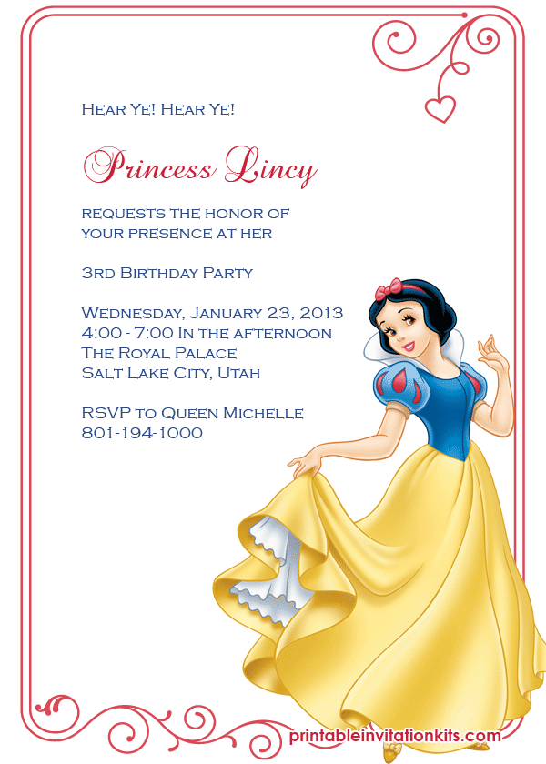 Free Snow White birthday invitation template.