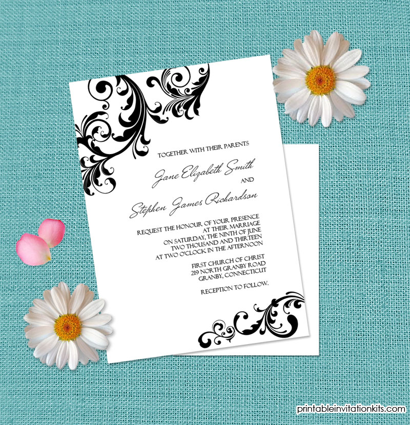 Elegant wedding invitation with swirls borders