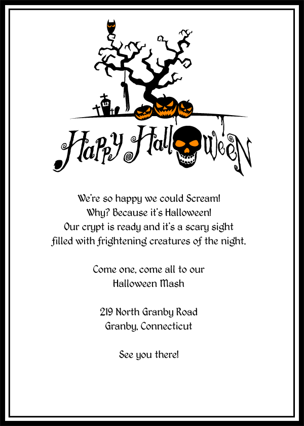 Scary Jack-o-Lanterns Halloween printable invitation