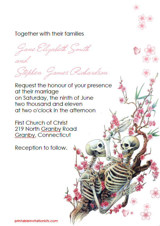 Halloween Wedding Invitation Till Death Do Us Part Wedding
