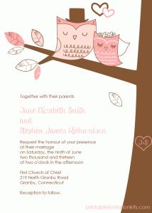 Winter wedding owls invitation for winter weddings.
