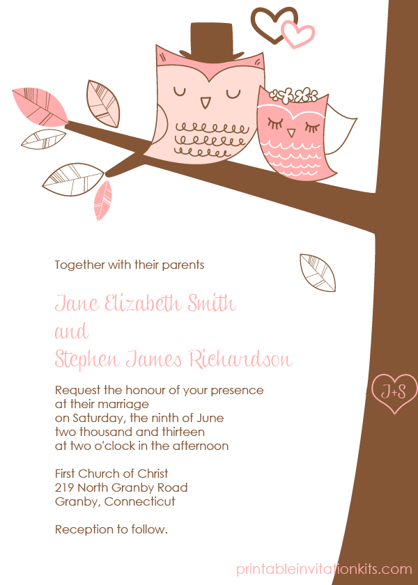 Cute bride and groom wedding owls free invitation template.