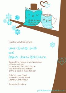 Winter wedding owls invitation for winter weddings.
