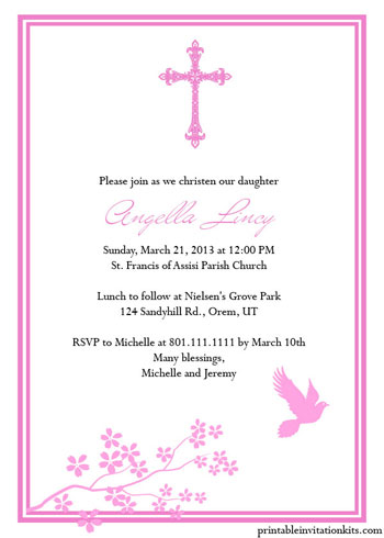 Christening Baptism Invitation Templates For Baby Boy And