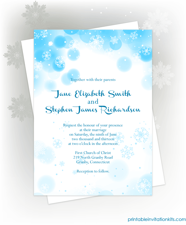 Free snowflakes winter invitation template for winter weddings and events.