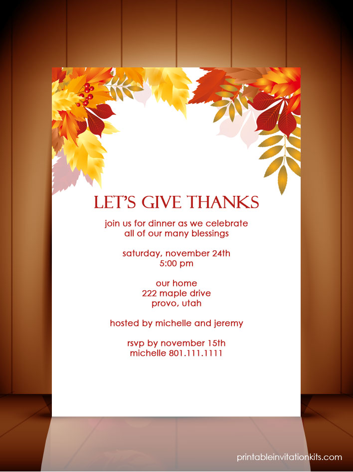Free Thanksgiving dinner invitation template