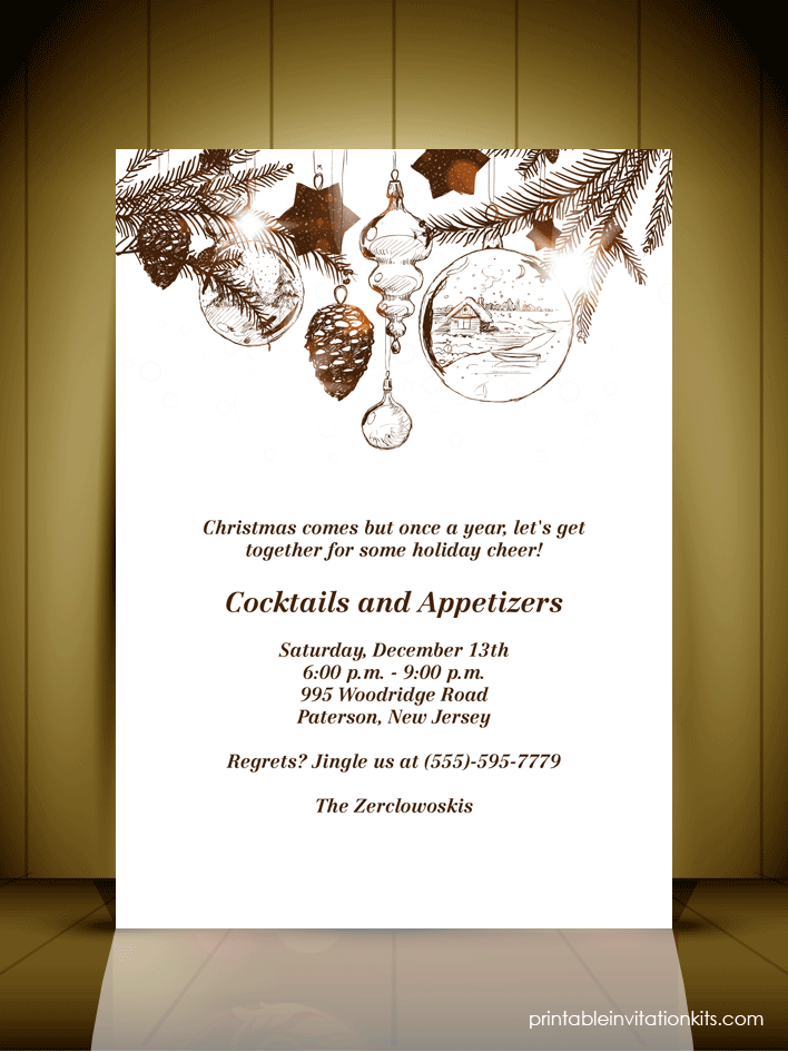 Vintage Style Christmas Party Invitation Card Wedding – Free Christmas Party Templates Invitations