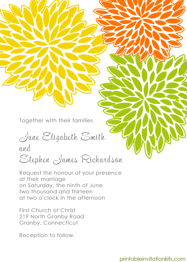 Spring wedding invitation template with lively petal burst design.