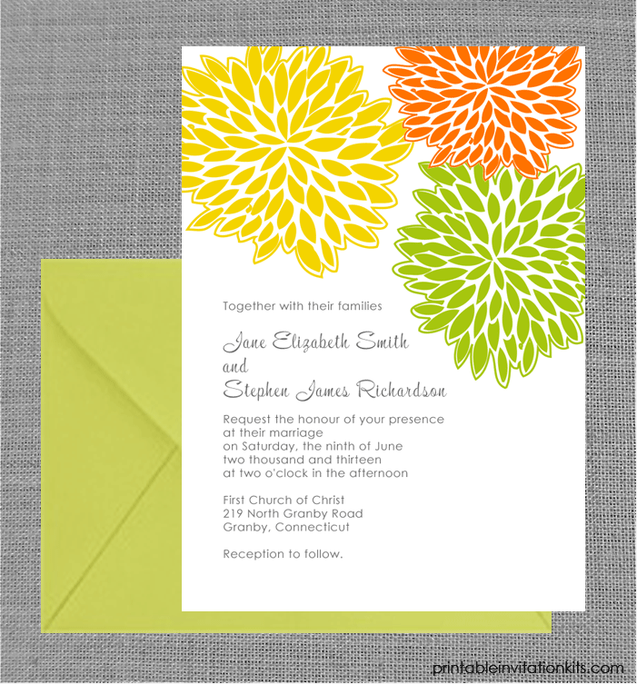 Spring wedding invitation with petal clusters design.