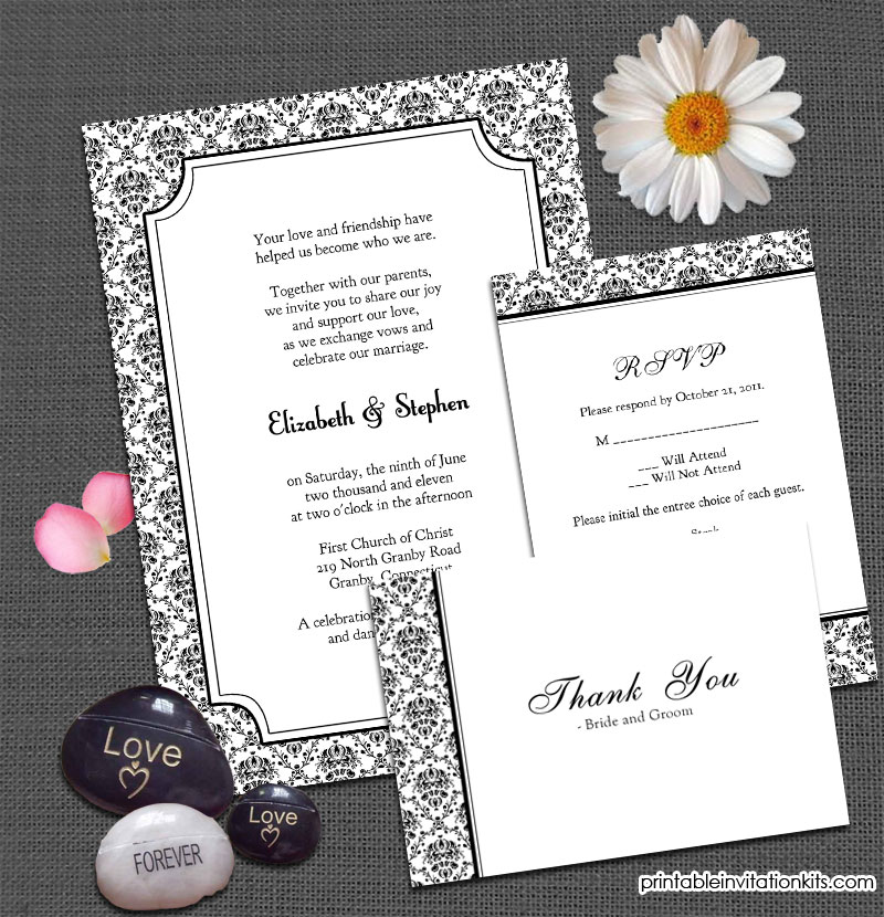 Vintage damask free wedding invitation templates