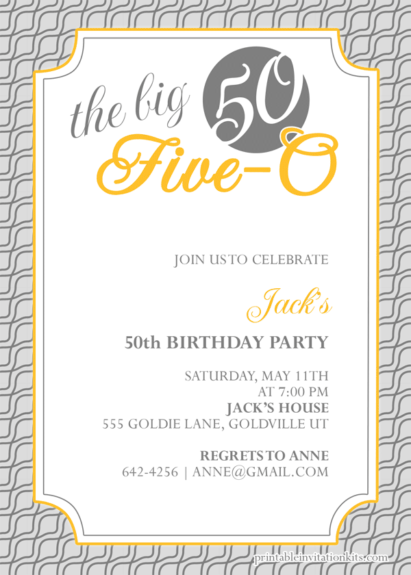The Big Five O 50th Birthday Invitation Wedding