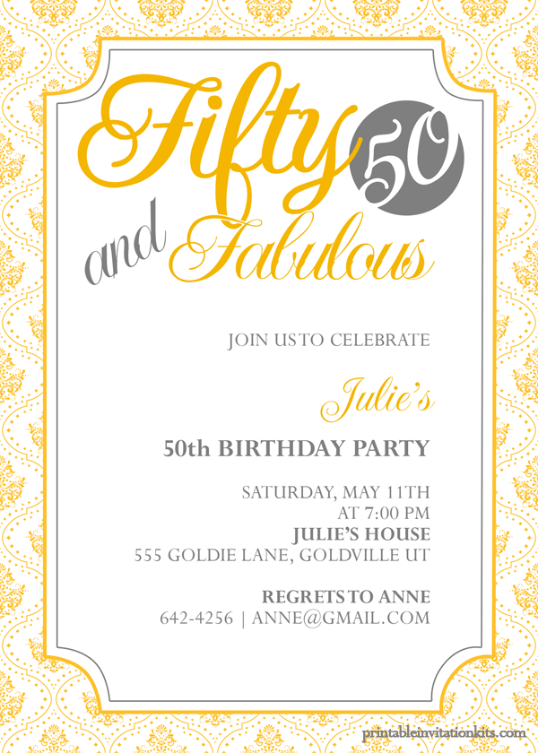Fifty And Fabulous 50th Birthday Invitation Wedding Invitation