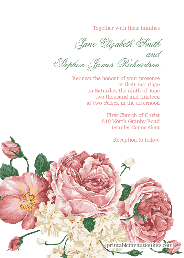 Floral Bouquet Invitation Template Wedding Templates