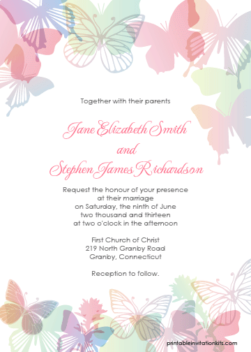 Spring butterflies printable invitation template