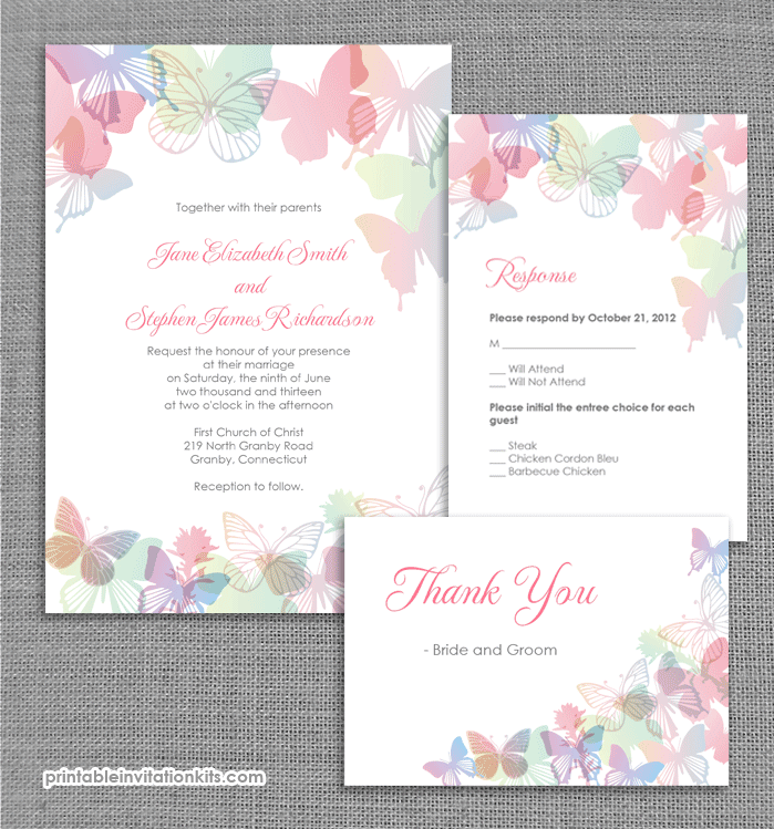 spring butterflies wedding invitation set ← printable invitation kits, Wedding invitation