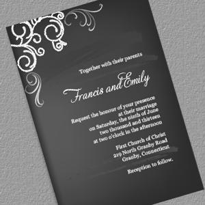 chalkboard and rose frame invitation and rsvp wedding invitation