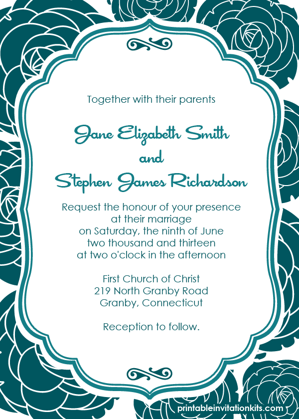 Rose Pattern Background Wedding Invitation Wedding