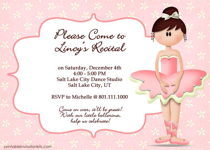 Ballet Recital Free Invitation Template Wedding Invitation Templates Printable Invitation Kits