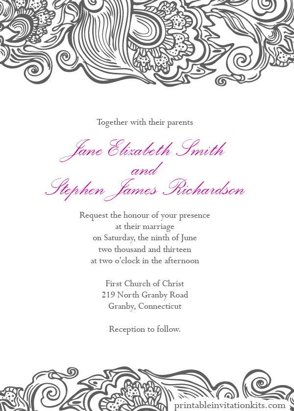 Wedding invitation wording wedding invitations borders for Wedding invitation page borders free download