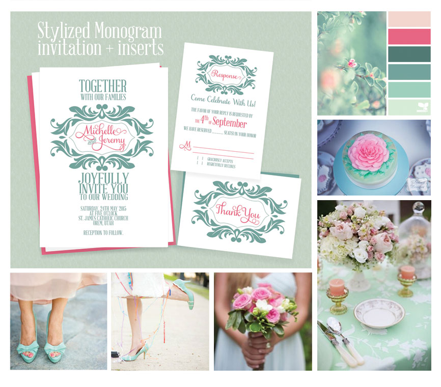 Stylized Monogram Invitation For Mint And Pink Wedding Wedding