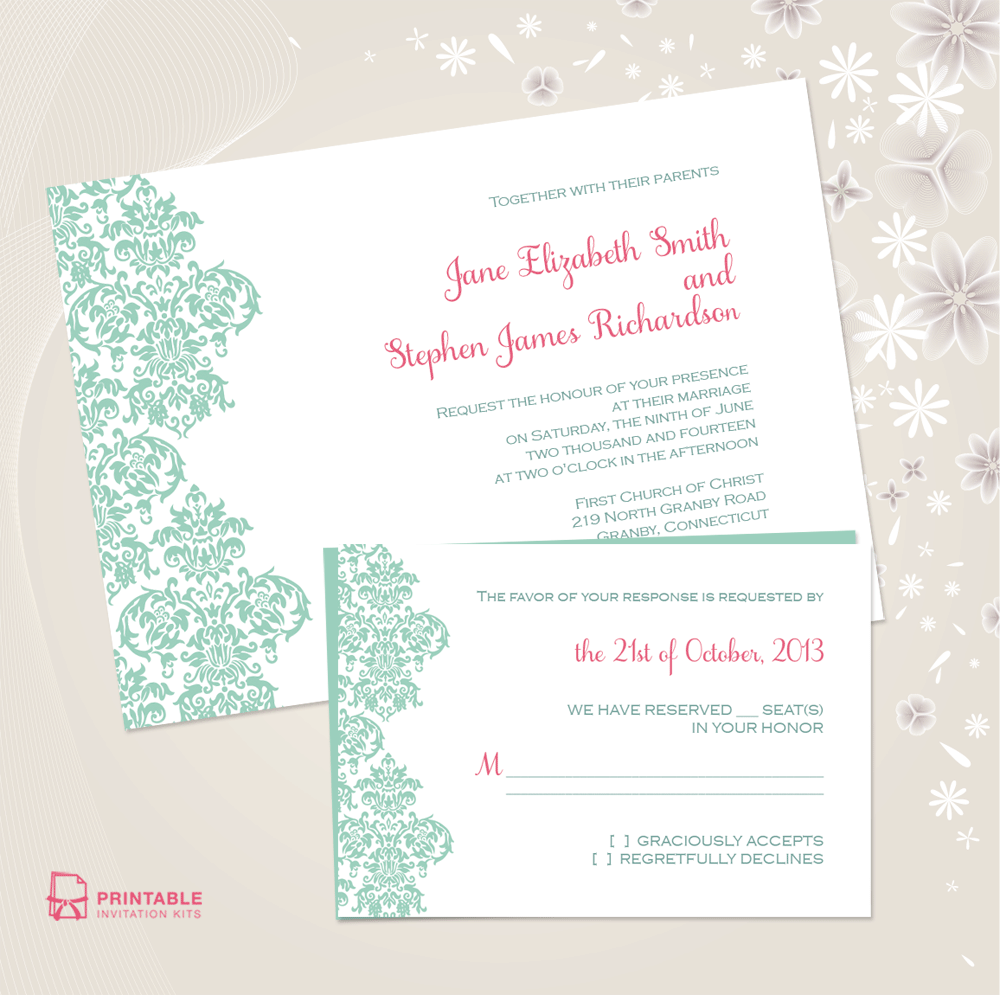 picture about Printable Wedding Invitation Kits referred to as Damask Border Invitation and RSVP Established ← Marriage Invitation