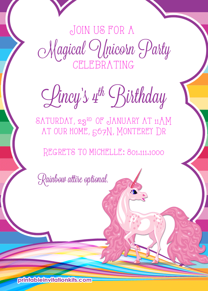Rainbows and Unicorn Birthday Party Invitation