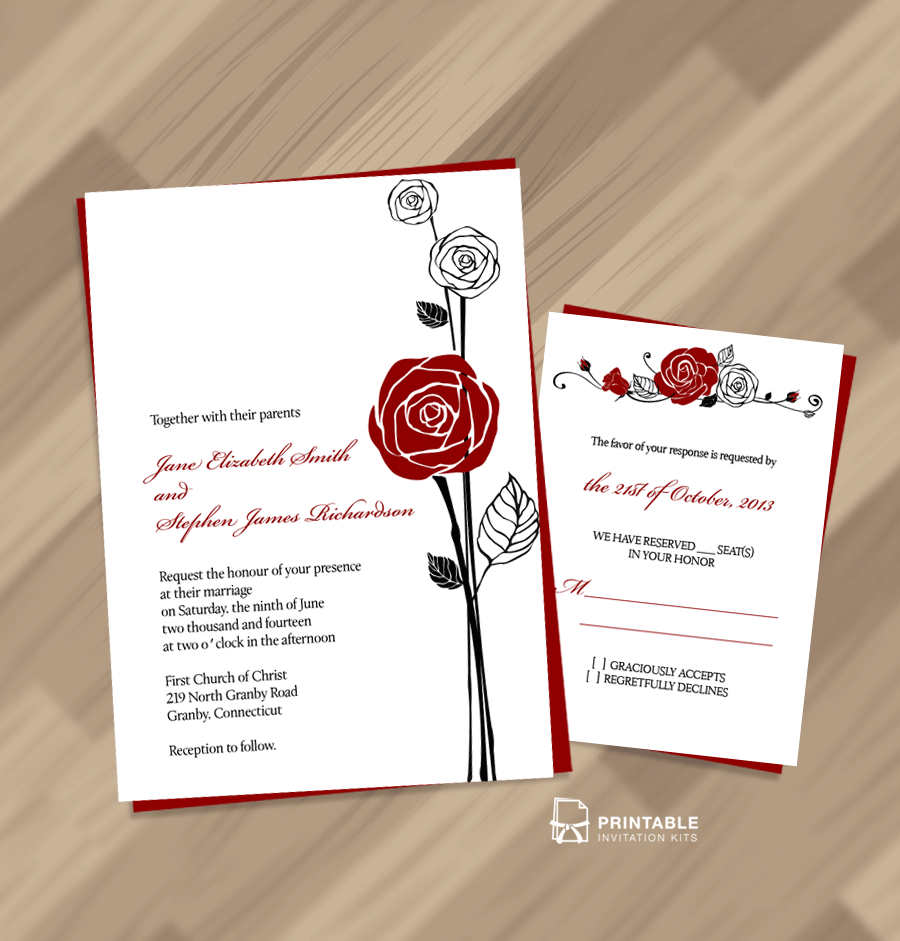Wedding Invitations With Red Roses: Red Rose Invitation And RSVP ← Wedding Invitation