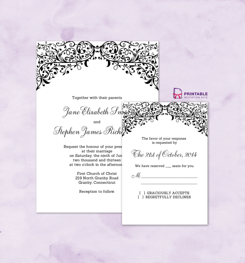 Filigree Top Wedding Invitation and RSVP