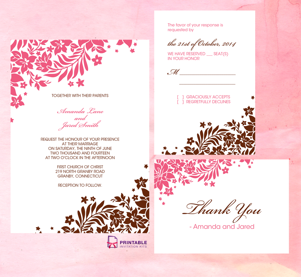 Foliage borders invitation rsvp and thank you cards wedding about this template stopboris Gallery