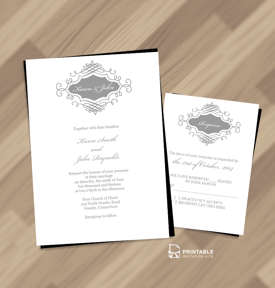 photo about Printable Wedding Invitation Kits called Appealing Marriage ceremony Monogram No cost Invitation and RSVP