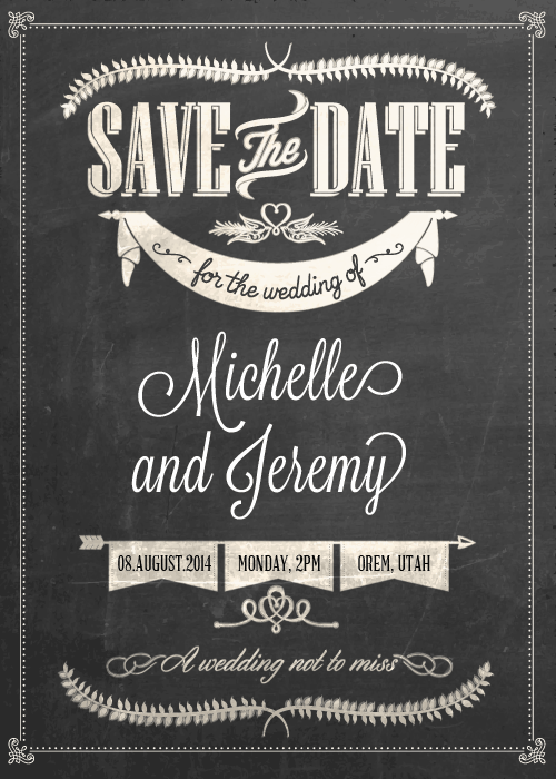 Stylish Chalkboard Save the Date ← Wedding Invitation Templates – Printable Invitation Kits
