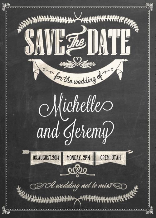 Super Stylish Chalkboard Save the Date ← Wedding Invitation Templates  RF33