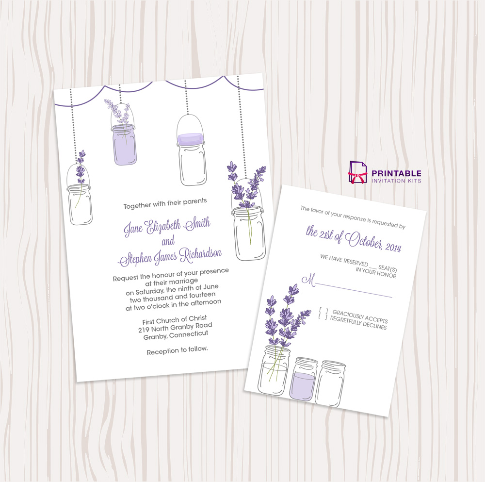 mason jar and lavender invitation and rsvp set wedding invitation