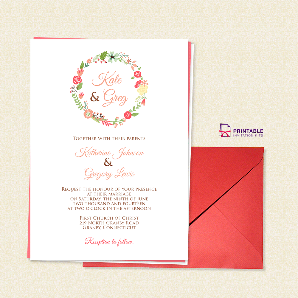 Floral Wreath Monogram Wedding Invite ← Wedding Invitation ...