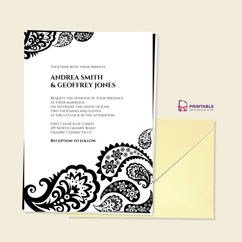 Paisley Border Wedding Invitation Wedding Invitation Templates Printable Invitation Kits
