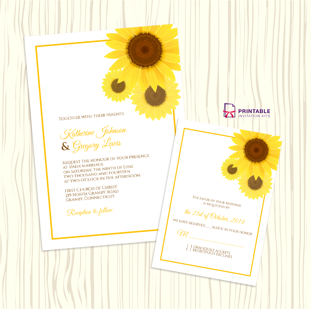 graphic regarding Free Printable Sunflower Template identified as Sunflower Marriage ceremony Invitation + RSVP Templates ← Wedding ceremony