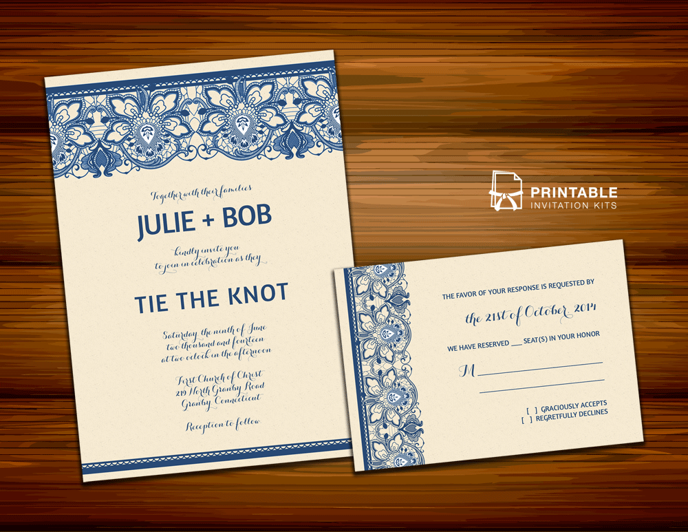 Lace Wedding Invitation Template: Lace Invitation Design For Burlap And Lace Weddings