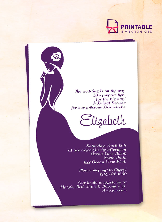 Bridal Shower Invitation Template With Lady Bride Design.  Free Bridal Shower Invitations Templates