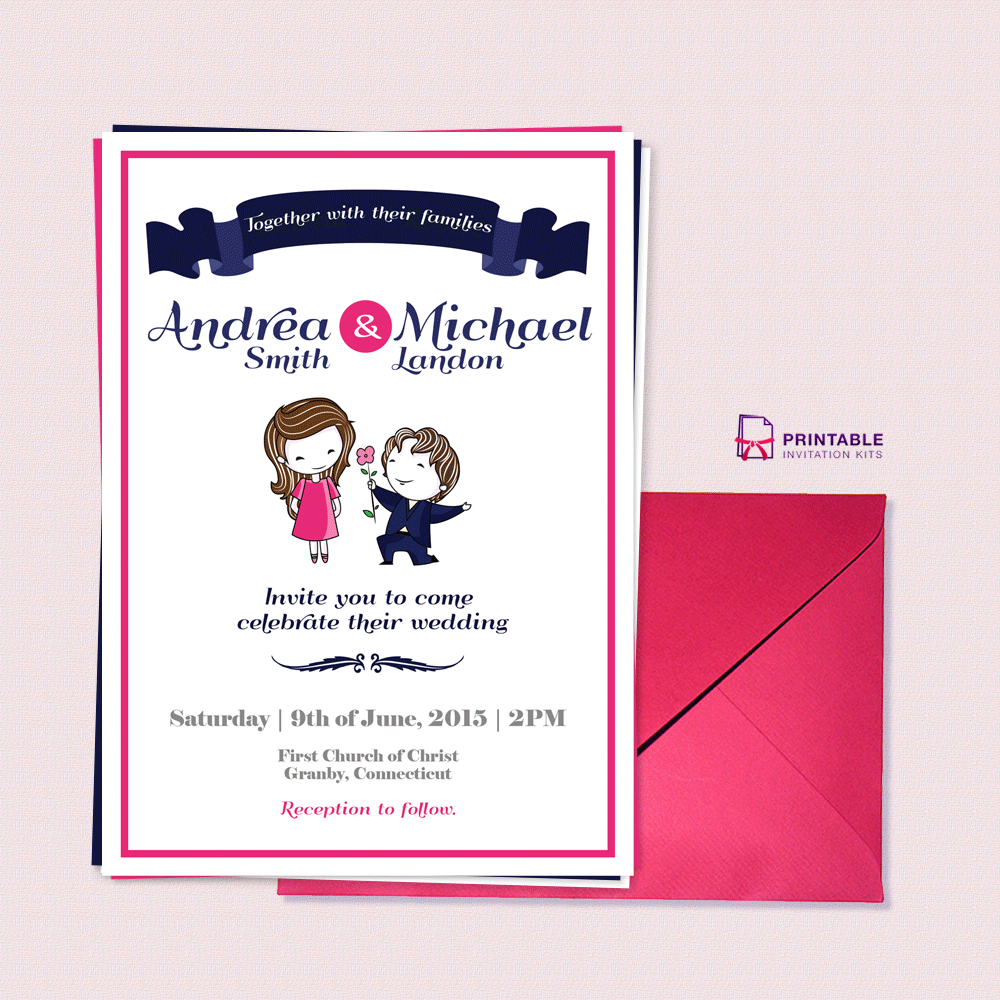 Cute Couple Illustration Wedding Invitation Template Wedding - Wedding invitation templates: wedding invitation downloadable templates