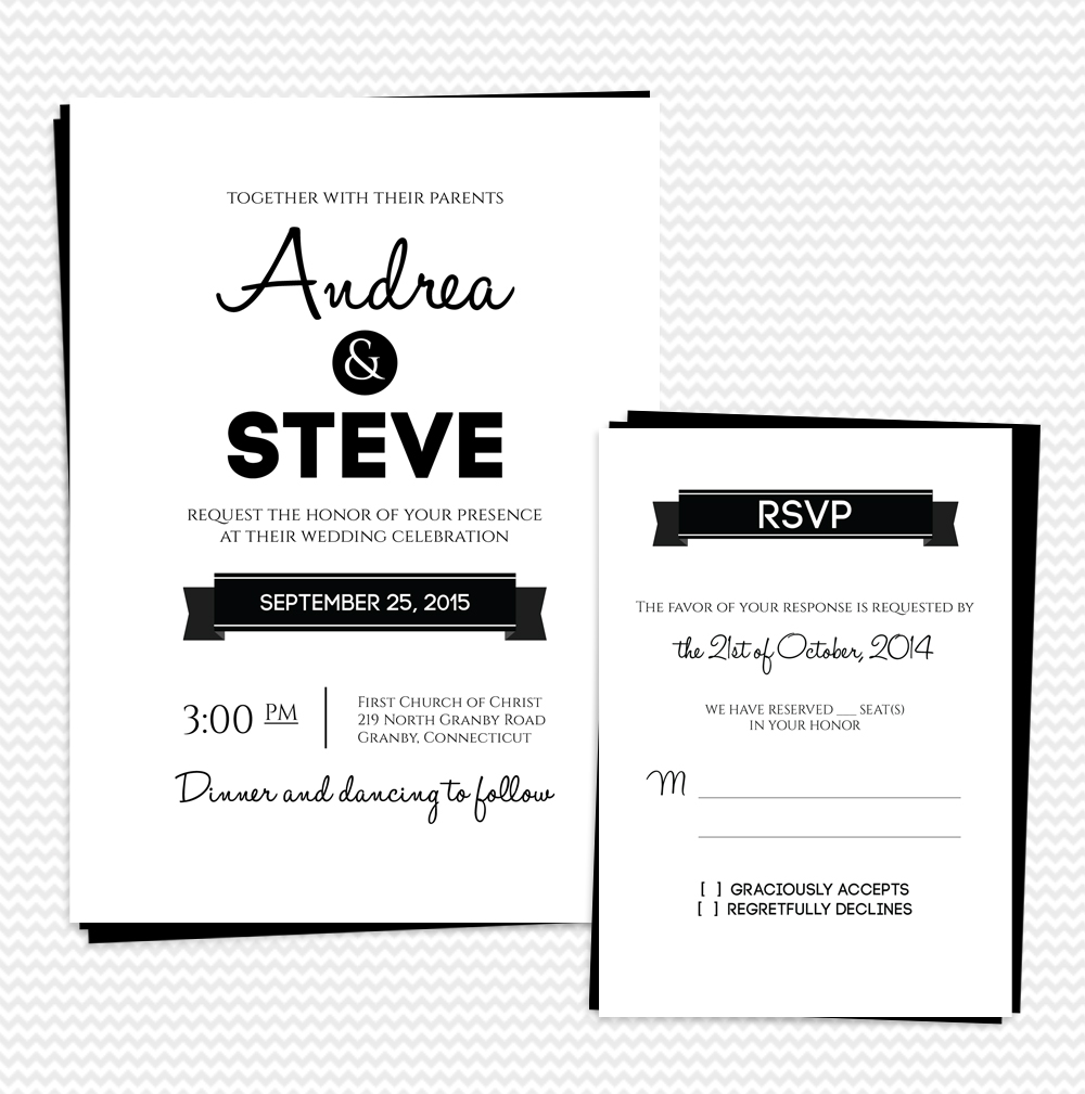 Modern Text Based Wedding Invitation And RSVP Set Wedding Invitation Templa