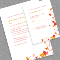 Autumn Wedding Invitation and RSVP Set