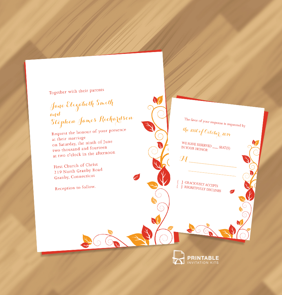 Autumn Fall invitation and RSVP set