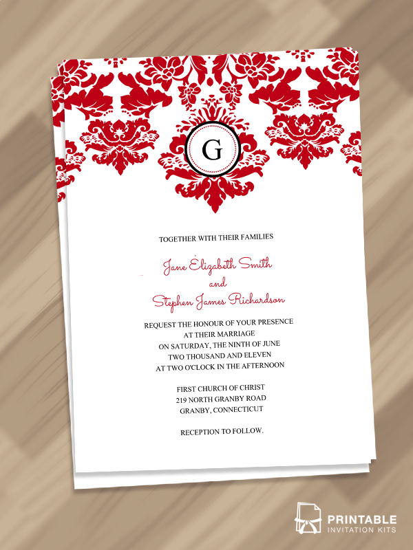 Damask with monogram invitation template