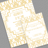 Gatsby Inspired Art Deco Invitation and RSVP