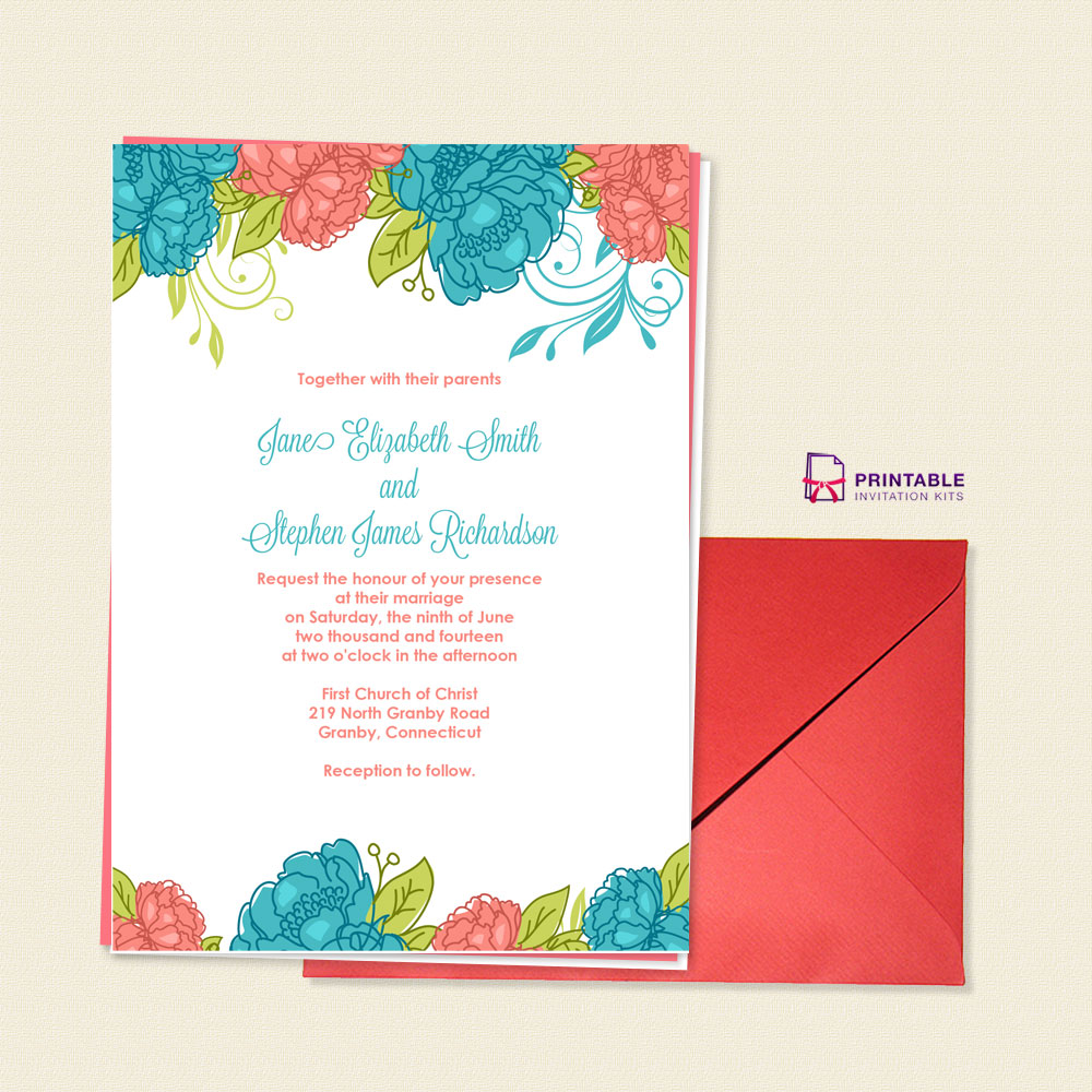printable wedding invitation kits summer blooms wedding invitation wedding invitation 6821